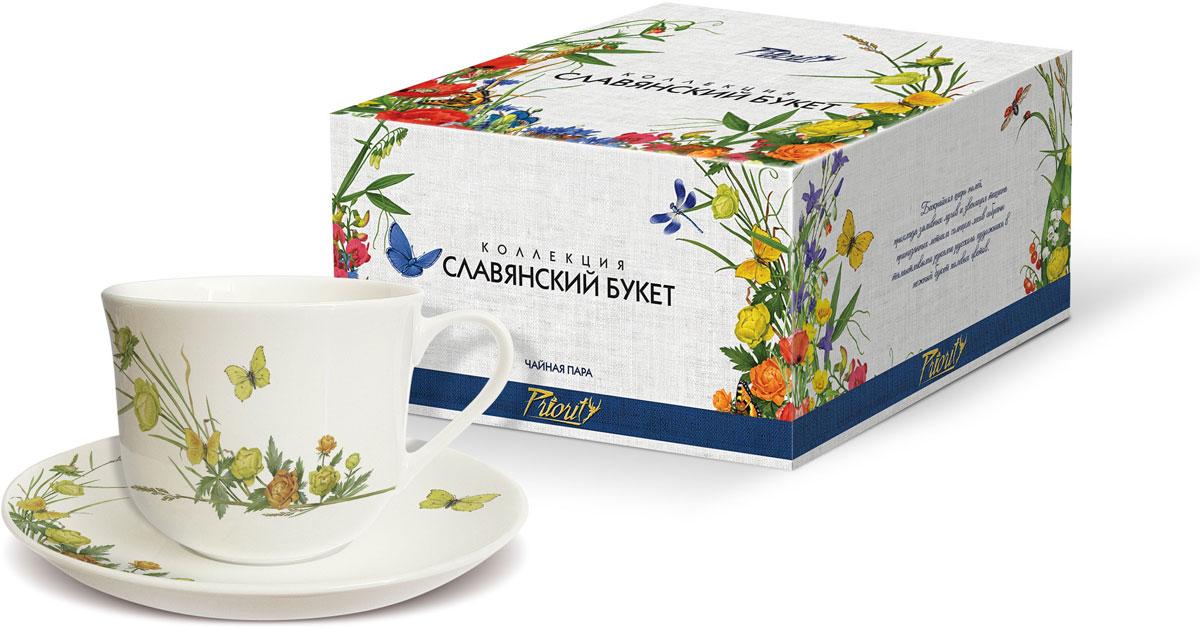 Чайная пара PrioritY Славянский букет. Купальница, 480 мл, 2 предмета