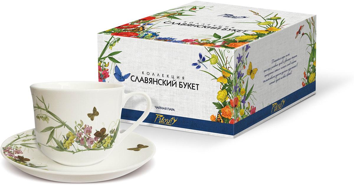 Чайная пара PrioritY Славянский букет. Горошек, 480 мл, 2 предмета