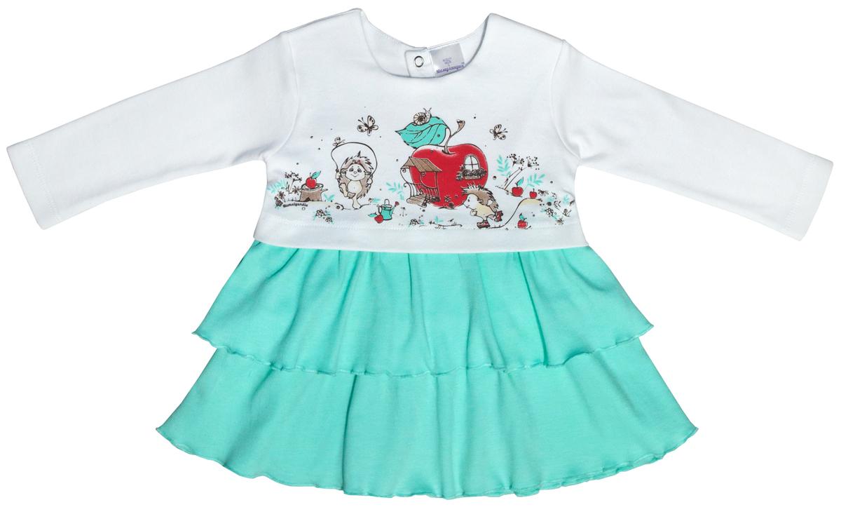 Платье для девочки Мамуляндия Ежата, цвет: белый, зеленый. 17-1007. Размер 8617-1007Платье для новорожденной девочки от Мамуляндия изготовлено из интерлока - натурального хлопка, благодаря чему оно необычайно мягкое и легкое, не раздражает нежную кожу ребенка и хорошо вентилируется, а эластичные швы приятны телу и не препятствуют движениям. Модель с длинными рукавами и круглым вырезом горловины на спинке застегивается на кнопки.