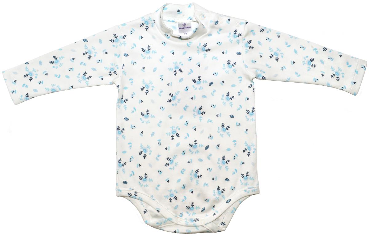 Боди-водолазка для девочки Мамуляндия Незабудка, цвет: белый, голубой. 17-2603. Размер 62