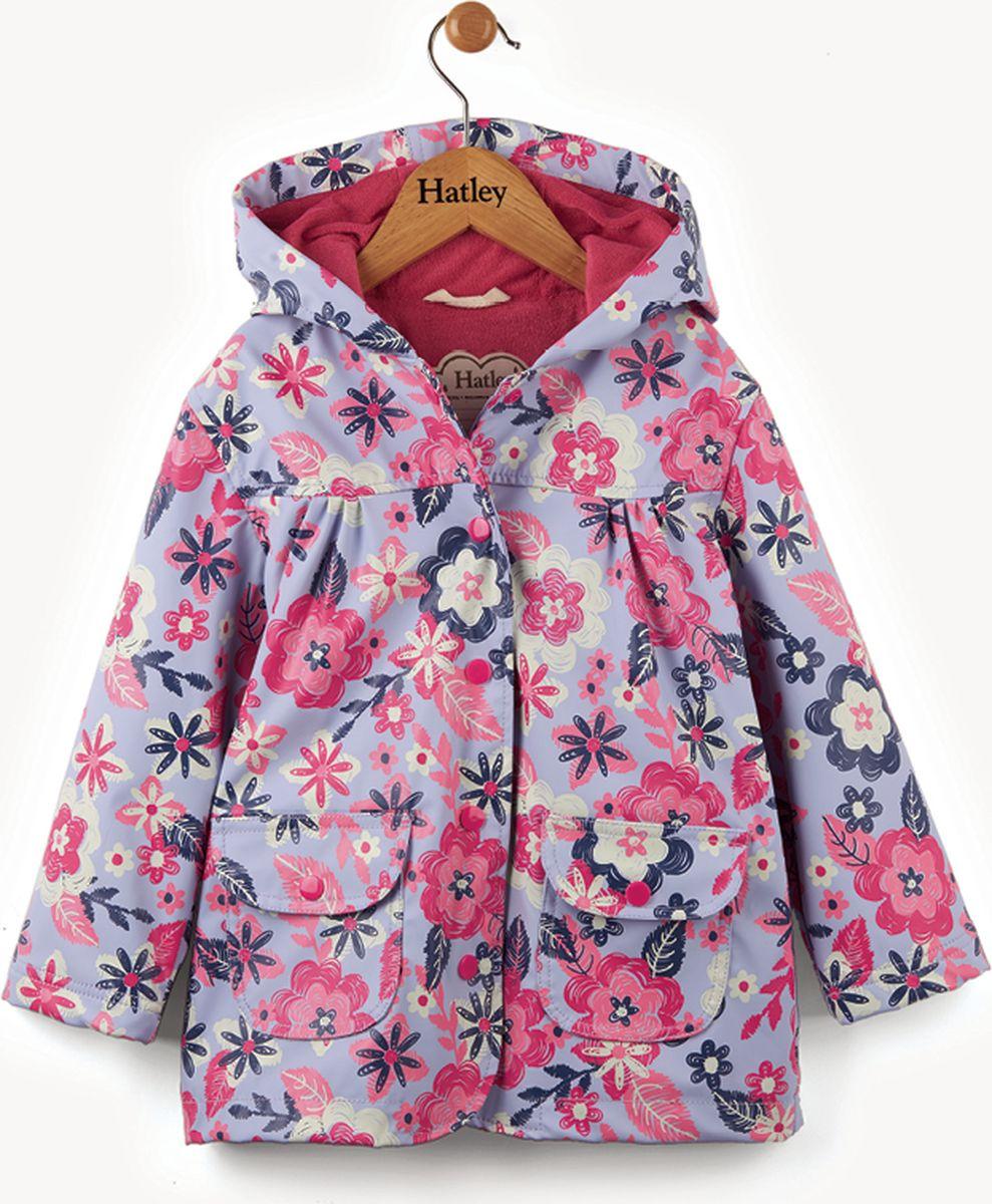 Дождевик для девочки Hatley, цвет: фиолетовый, розовый. RC5GAFL233. Размер 119, 6 летRC5GAFL233Непромокаемый плащ для девочки Hatley изготовлен из 100% полиуретана - высокотехнологичного материала, безвредного для здоровья ребенка. Изделие оснащено контрастной полиэстеровой подкладкой типа махра, что позволяет ребенку чувствовать себя комфортно длительное время. Капюшон не отстегивается, карманы на кнопках. Изюминкой бренда Hatley остаются яркие, забавные принты, которые не оставят равнодушным ни одного ребенка.