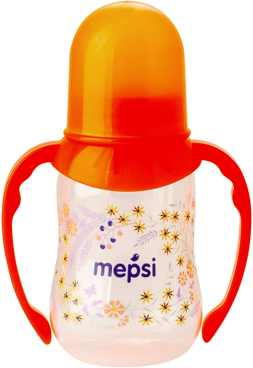 Mepsi Бутылочка для кормления с ручками с силиконовой соской от 4 месяцев 125 мл mepsi бутылочка для кормления с силиконовой соской от 0 месяцев цвет бирюзовый 125 мл