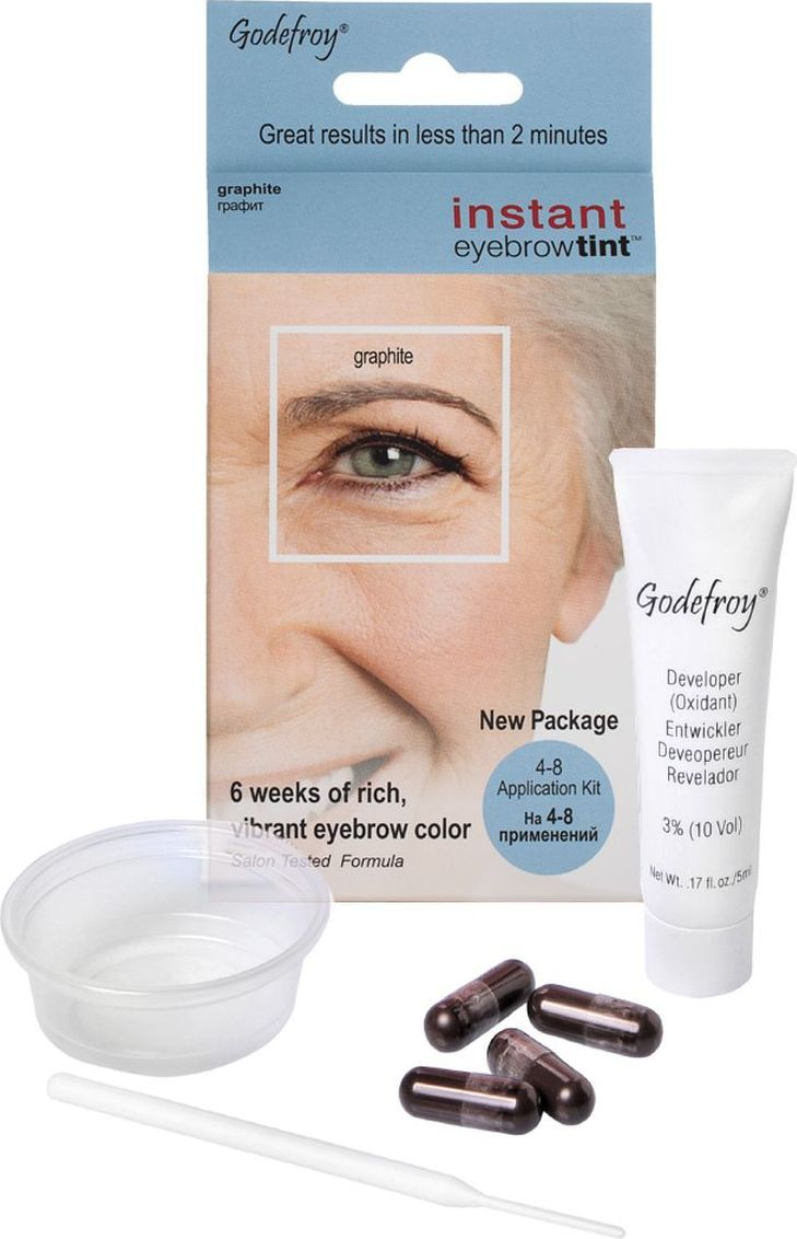 цены на Godefroy Eyebrow Tint Синтетическая краска-хна в капсулах для бровей, цвет: Graphite, 4 шт в интернет-магазинах