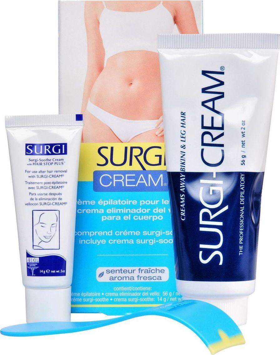 Surgi Набор Cream Bikini & Leg: крем для удаления волос в области бикини, успокаивающий крем82501Больше никаких порезов от бритвенного станка. Нежный, но при этом эффективный, крем на основе кленового сиропа, с добавлением алоэ вера, и пчелиного воска подарит вам гладкость кожи на несколько недель! Успокаивающий крем, который сделает процедуру практически незаметной даже для самой нежной кожи.