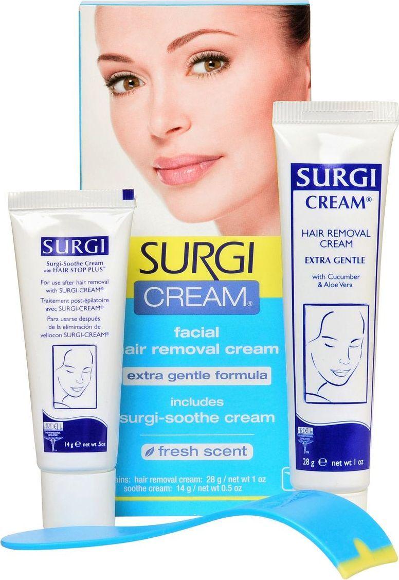 Surgi Набор Cream Extra Gentle Formula: крем для удаления волос на лице, успокаивающий крем82Крем для удаления волос на лице для чувствительной кожи. Формула, дополненная экстрактами алоэ-вера и огурца, создана специально для чувствительной кожи. Крем быстро и надолго удаляет волоски над верхней губой, с щек и подбородка. Успокаивающий крем, входящий в состав набора, нормализует состояние кожи после процедуры. Время процедуры - 5-8 минут.