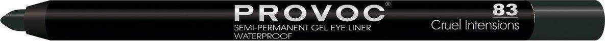 Provoc Gel Eye Liner Гелевая подводка в карандаше для глаз, цвет: тон 83 Cruel Intensions, темно-коричневыйPV0083Гелевый карандаш для глаз Provoc позволяет легко подвести яркие, насыщенные, глубокие стрелки. Благодаря высокой пигментации цвета, стрелки создают эффект жидкой подводки. Водоустойчивая формула с микрокристаллическим воском гарантирует ультра стойкость до 24 часов. Цвет: темно-коричневый