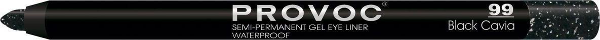 Provoc Gel Eye Liner Гелевая подводка в карандаше для глаз, цвет: тон 99 Black Cavia, шиммер, черный с голографич сине-серебристыми блестками provoc гелевая подводка карандаш для губ 29 cinnamon sugar цвет бежево розовый