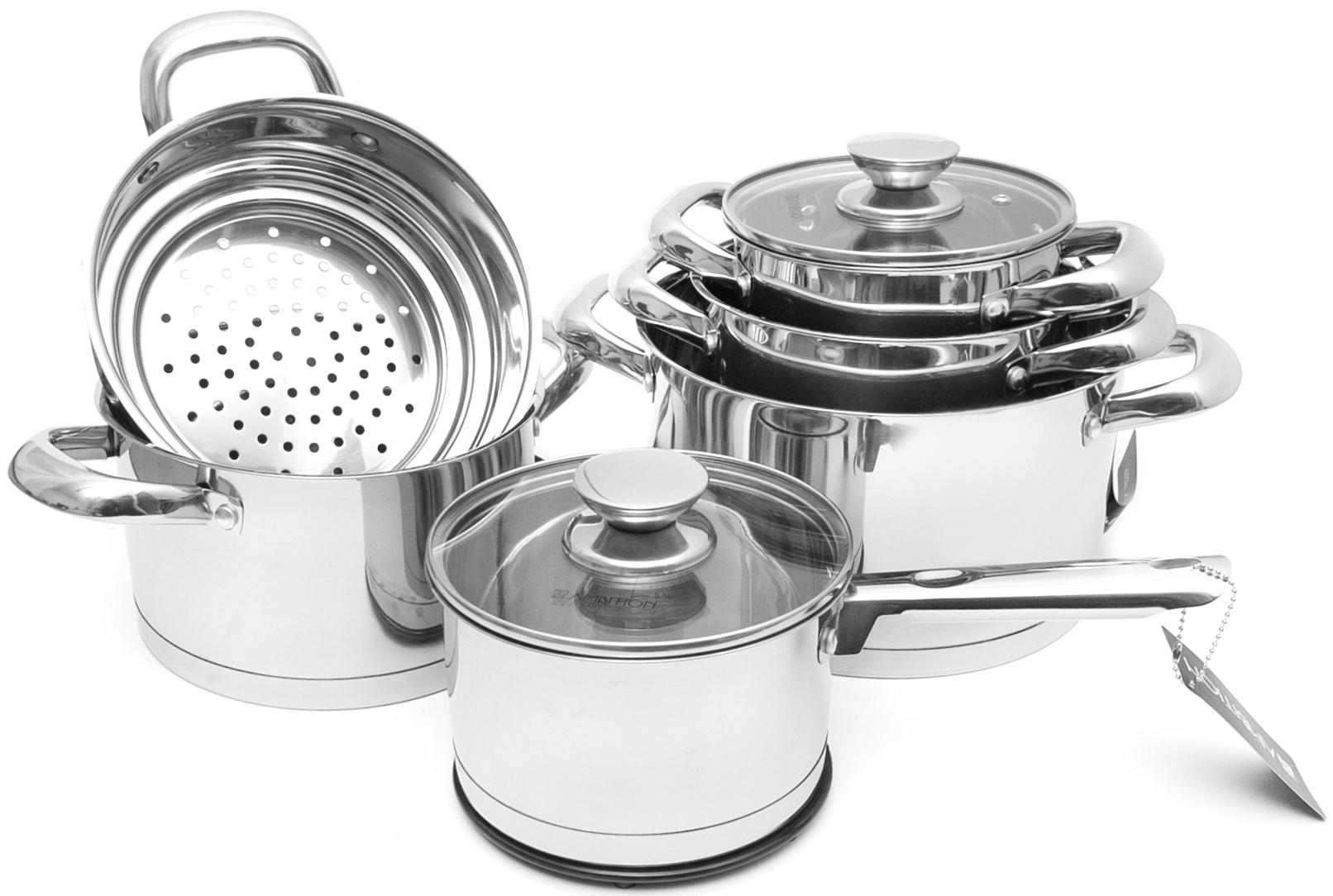 Набор посуды Ambition, 13 предметов68880Набор посуды изготовлен из нержавеющей стали. Для всех типов варочных панелей, включая индукционную. Можно мыть в посудомоечной машине. Кастрюли имеют толстое дно индукционное. Набор Кастрюль Ковш 1)D=16cm, V= 1,8л, H=10 cm, Кастрюли : 2) D=16cm, V= 1,8 л, H=10 cm, 3) D=18cm, V= 2,5л, H=11 cm, 4)D=20cm, V= 3л, H=12 cm, 5) D=24cm, V= 5,9л, H=14 cm, вкладыш для приготовления на пару 6) D=24cm, H=9 cm. Подставка под кастрюлю 2 штуки 7) D=16 см.
