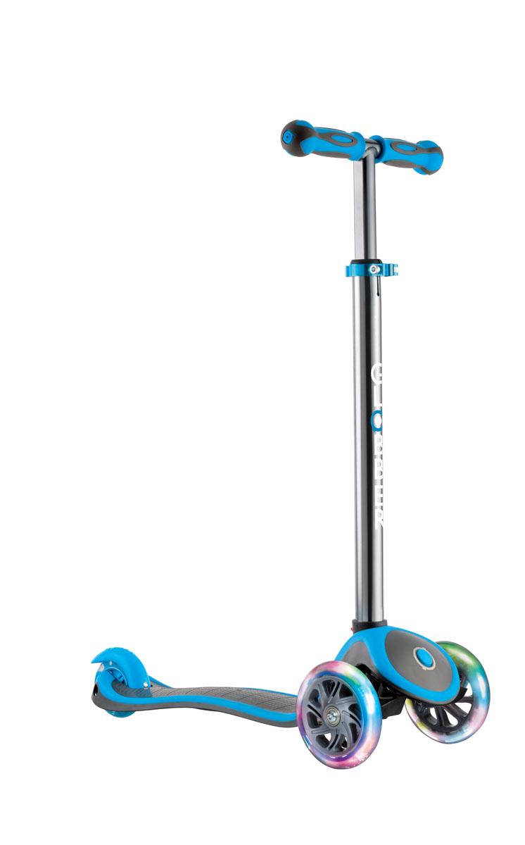 Самокат Globber My Free Up Titanium Lights, со светящимися колесами, цвет: голубой инерционный самокат в запорожье