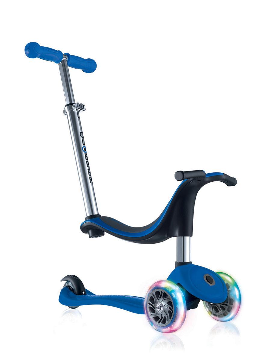 Самокат Globber Evo 4 In 1 Lights, со светящимися передними колесами, цвет: синий452-100Это необычный яркий многофункциональный самокат, который можно трансформировать в каталку-самокат с удобной родительской ручкой. В этой модели все продумано до мелочей. Самокат растет вместе с Вашим ребенком от 12 месяцев до 6 лет. Каталка-самокат-трансформер Globber EVO 4 IN 1 LIGHTS имеет 4 этапа трансформации: каталка с сиденьем и родительской ручкой для детей от 12 месяцев, каталка без родительской ручки для детей от 15 месяцев, самокат с низкой ручкой для детей от 24 месяцев, самокат с высоким рулем для детей от 36 месяцев. Самокат легко регулируется по высоте ребенка. Самокат оснащен алюминиевым рулем, который регулируется по высоте в четырех положениях. Также регулируется родительская ручка.Безопасность обеспечивает эргономичное сиденье, из которого ребенок не выпадет, а также более длинный тормоз. Если ножки ребенка устали, он может их расположить на изгиб платформы. Светящиеся светодиодные колеса изготовлены из полиуретана, что обеспечивает мягкий ход самоката.