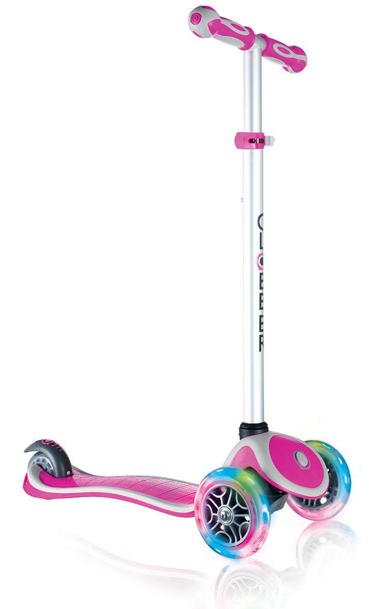 Самокат Globber Primo Plus Lights, со светящимися передними колесами, цвет: розовый442-110Самокат Primo Plus Lights предназначен для самых маленьких гонщиков. Самокат идеальноподходит для развития равновесия и обучения езде вашего малыша. Самокат оснащен кнопкойдля блокировки колес, что способствует облегчению в обучении катанию. Самокат обладаетрегулируемым Т-образным рулем, который легко адаптируется к росту ребенка. Колеса самокатавыполнены из высококачественного полиуретана с нейлоновыми покрытиями.Самокат PrimoPlus Lights оборудован алюминиевым Т-образным рулем, который с легкостью можноподстраивать под рост ребенка. Primo Plus Lights, будучи легкоуправляемым и надежным, былспроектирован из лучших материалов: подножка выполнена из двухкомпонентного армированногонейлона, колеса - из прозрачного высококачественного полиуретана имеют отличный отскок, аручки из мягкой термопластичной резины. Высокопрочные подшипники 608ZZ позволяютдобиться отменного скольжения, а также уменьшить перегрев и снашивание.