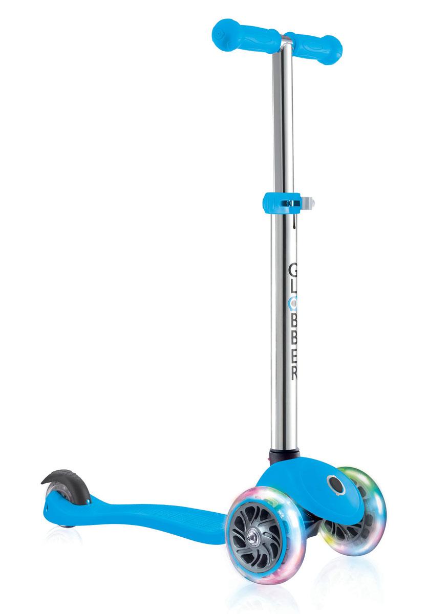 """Самокат Globber """"Primo Lights"""", со светящимися передними колесами, цвет: голубой"""
