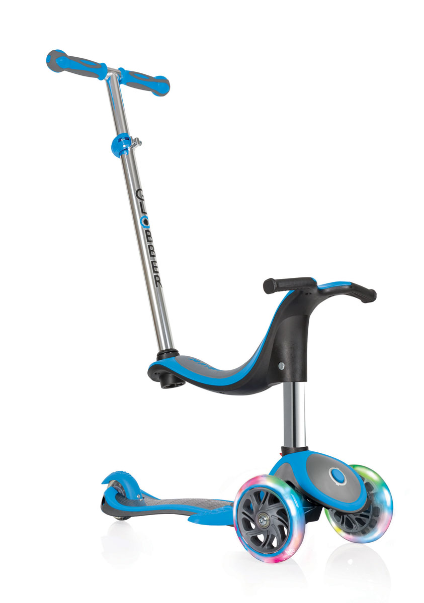 """Самокат Globber """"Evo 4 In 1 Plus Lights"""", со светящимися передними колесами и подножкой, цвет: голубой"""