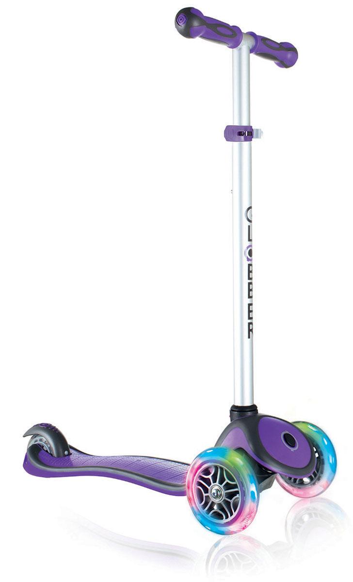 Самокат Globber Primo Plus Lights, со светящимися передними колесами, цвет: фиолетовый442-103Самокат Primo Plus Lights предназначен для самых маленьких гонщиков. Самокат идеальноподходит для развития равновесия и обучения езде вашего малыша. Самокат оснащен кнопкойдля блокировки колес, что способствует облегчению в обучении катанию. Самокат обладаетрегулируемым Т-образным рулем, который легко адаптируется к росту ребенка. Колеса самокатавыполнены из высококачественного полиуретана с нейлоновыми покрытиями.Самокат PrimoPlus Lights оборудован алюминиевым Т-образным рулем, который с легкостью можноподстраивать под рост ребенка. Primo Plus Lights, будучи легкоуправляемым и надежным, былспроектирован из лучших материалов: подножка выполнена из двухкомпонентного армированногонейлона, колеса - из прозрачного высококачественного полиуретана имеют отличный отскок, аручки из мягкой термопластичной резины. Высокопрочные подшипники 608ZZ позволяютдобиться отменного скольжения, а также уменьшить перегрев и снашивание.