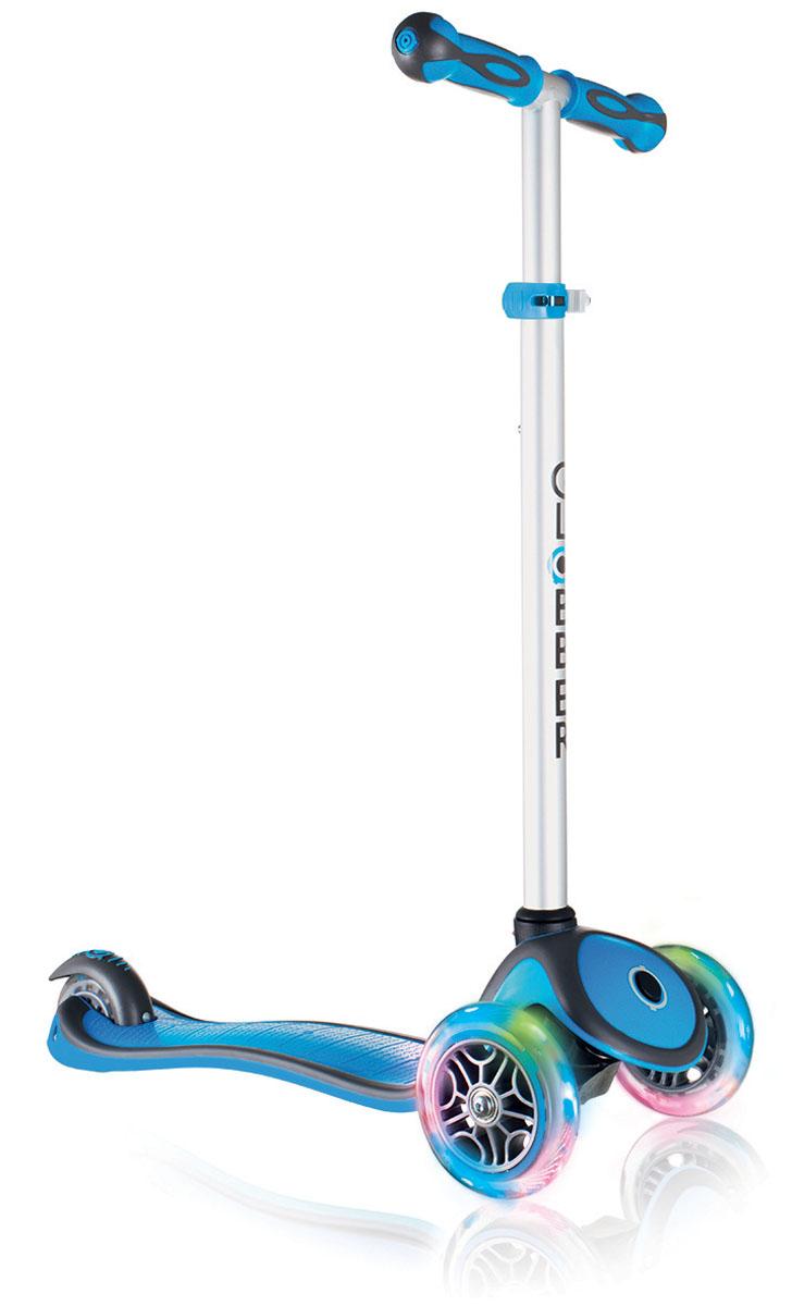 """Самокат Globber """"Primo Plus Lights"""", со светящимися передними колесами, цвет: голубой"""