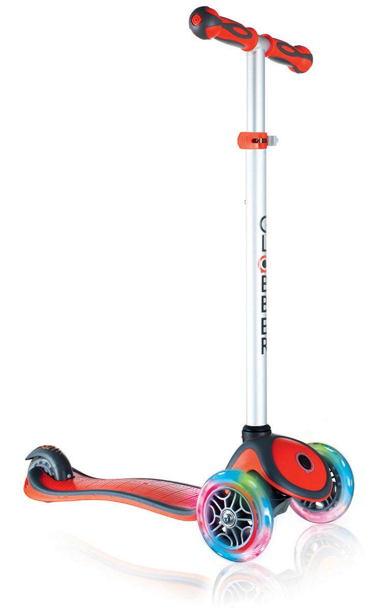 Самокат Globber Primo Plus Lights, со светящимися передними колесами, цвет: красный442-102Самокат Primo Plus Lights предназначен для самых маленьких гонщиков. Самокат идеальноподходит для развития равновесия и обучения езде вашего малыша. Самокат оснащен кнопкойдля блокировки колес, что способствует облегчению в обучении катанию. Самокат обладаетрегулируемым Т-образным рулем, который легко адаптируется к росту ребенка. Колеса самокатавыполнены из высококачественного полиуретана с нейлоновыми покрытиями.Самокат PrimoPlus Lights оборудован алюминиевым Т-образным рулем, который с легкостью можноподстраивать под рост ребенка. Primo Plus Lights, будучи легкоуправляемым и надежным, былспроектирован из лучших материалов: подножка выполнена из двухкомпонентного армированногонейлона, колеса - из прозрачного высококачественного полиуретана имеют отличный отскок, аручки из мягкой термопластичной резины. Высокопрочные подшипники 608ZZ позволяютдобиться отменного скольжения, а также уменьшить перегрев и снашивание.