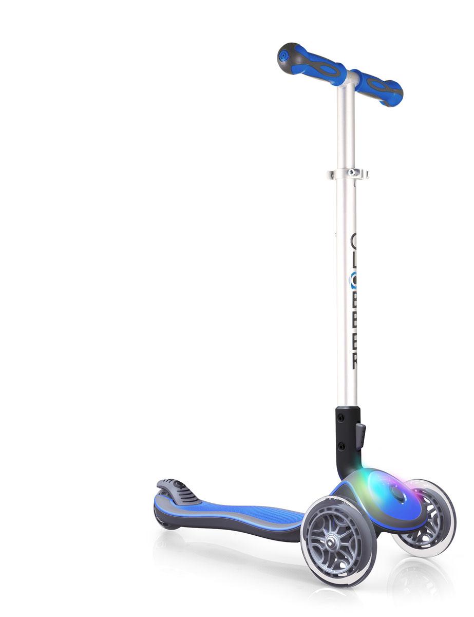 Самокат Globber Elite F, со светящейся платформой, цвет: голубой448-101ELITE F/FL - это трехколесный самокат для детей от 3 лет, укомплектованный подсвечивающейся декой и колесами для безграничного веселья вашего ребенка.Особенности комплектации ELITE F: светодиодная дека и стандартные колеса. Доступные цвета: синий, голубой, красный, фиолетовый, зеленый, розовый.Особенности комплектации ELITE FL: светодиодная дека и светодиодные передние колеса. Доступные цвета: синий, зеленый, розовый.ELITE - это складной самокат с революционным эллиптическим дизайном. С помощью простого нажатия кнопки на нижней части T-образного руля, самокат можно легко перевести в режим транспортировки, что обеспечит максимальную мобильность и удобство хранения. Для моделей ELITE F/FL в базовое оснащение входит трехцветный модуль для деки, который, благодаря встроенному датчику вибрации, светится во время езды по неровной поверхности.Выбирая модель ELITE FL вы получаете самокат со светодиодными безаккумуляторными колесами, которые работают только во время использования самоката и излучают спектр из трех цветов: красный, синий и зеленый.ELITE F/FL - это самокат с возможностью регулировки высоты руля в 4 положениях, что позволяет использовать самокат пока Ваш ребенок растет.Самокат является образцом безопасности благодаря запатентованной кнопке блокировки рулевого механизма, широкой деке, позволяющей комфортно поместить обе ноги и усиленной конструкции, выдерживающей до 50кг.