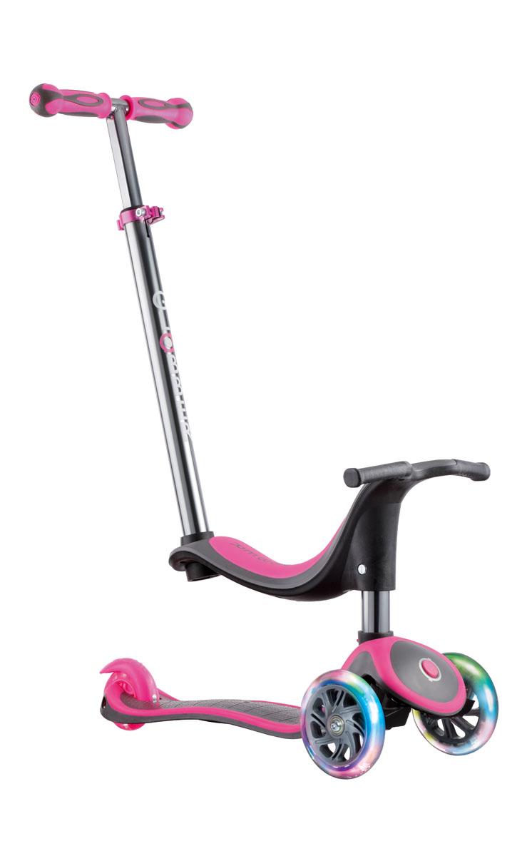 Самокат Globber My Free 4 In 1 Titanium Lights, со светящимися колесами, цвет: розовый инерционный самокат в запорожье