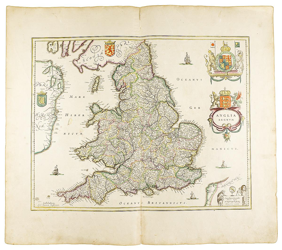Географическая карта Англии с частью Шотландии и Ирландии. Гравюра. Западная Европа, около 1630 года