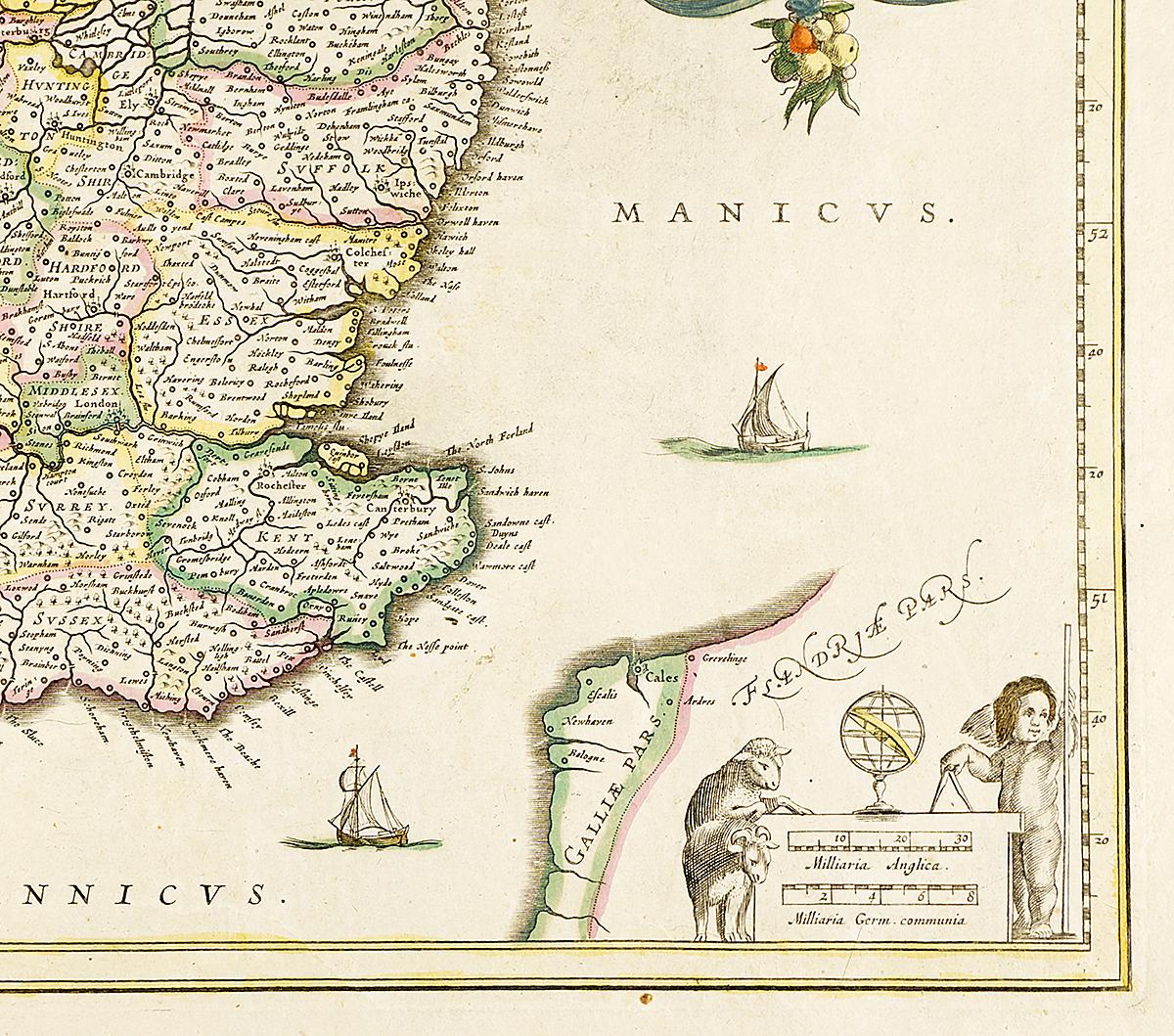 Географическая карта Англии с частью Шотландии и Ирландии.  Гравюра.  Западная Европа, около 1630 года  Не подлежит вывозу за пределы Российской Федерации. Размер 60,5...