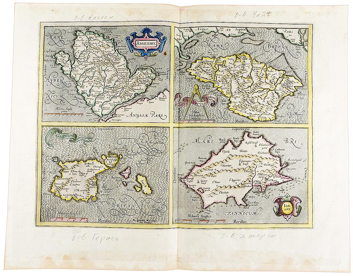 Географические карты значимых английских островов. Гравюра, Западная Европа, около 1595 года