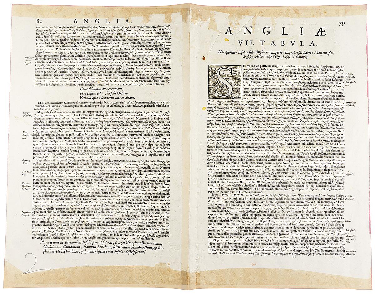 Географические карты значимых английских островов.  Гравюра, Западная Европа, около 1595 года Сохранность хорошая. Вертикальная складка по центру листа. Меркатор...