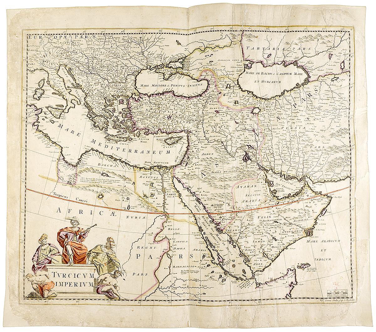 Географическая карта Турецкой Империи. Гравюра, Нидерланды, около 1650 года