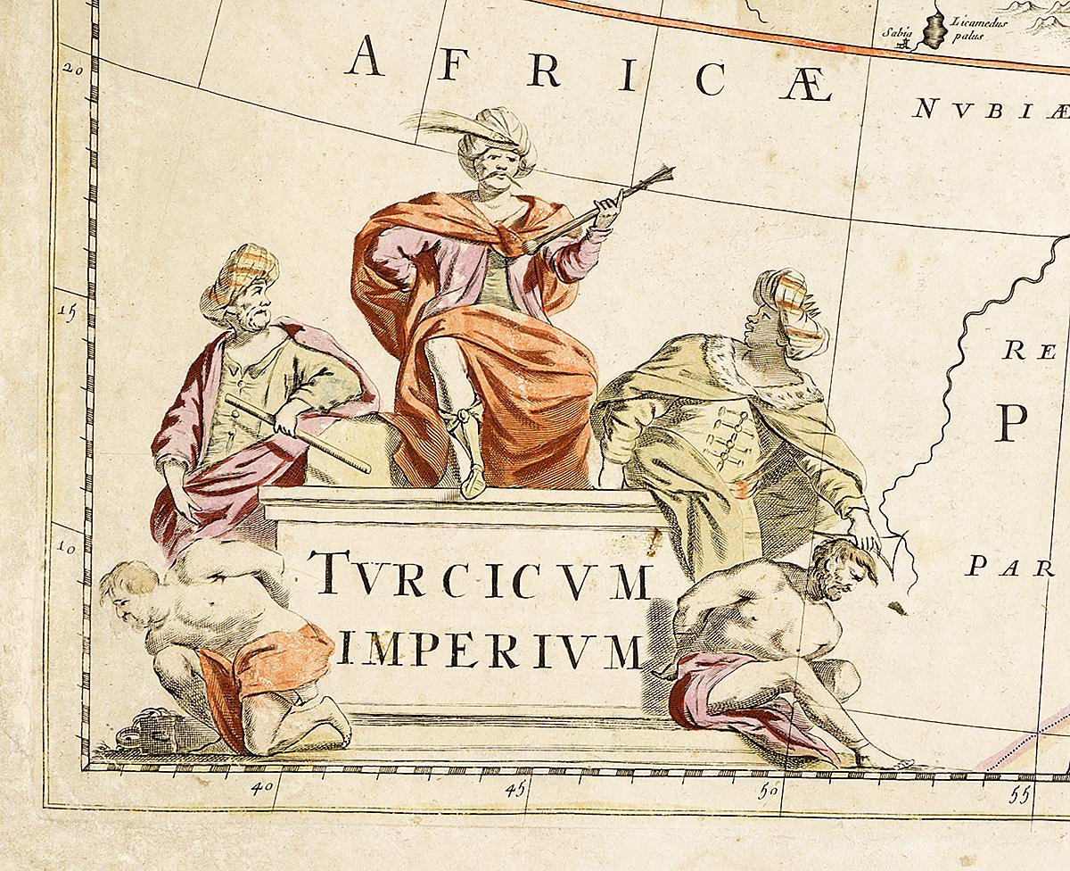 Географическая карта Турецкой Империи.  Гравюра, Нидерланды, около 1650 года Сохранность хорошая. Гравер - Иоанн Шулер. Вертикальная складка...