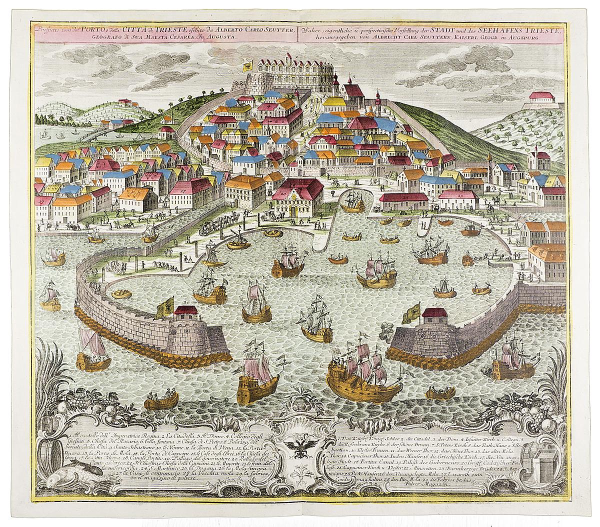 План-карта города и порта Триест. Цветная гравюра, Западная Европа, около 1720 года