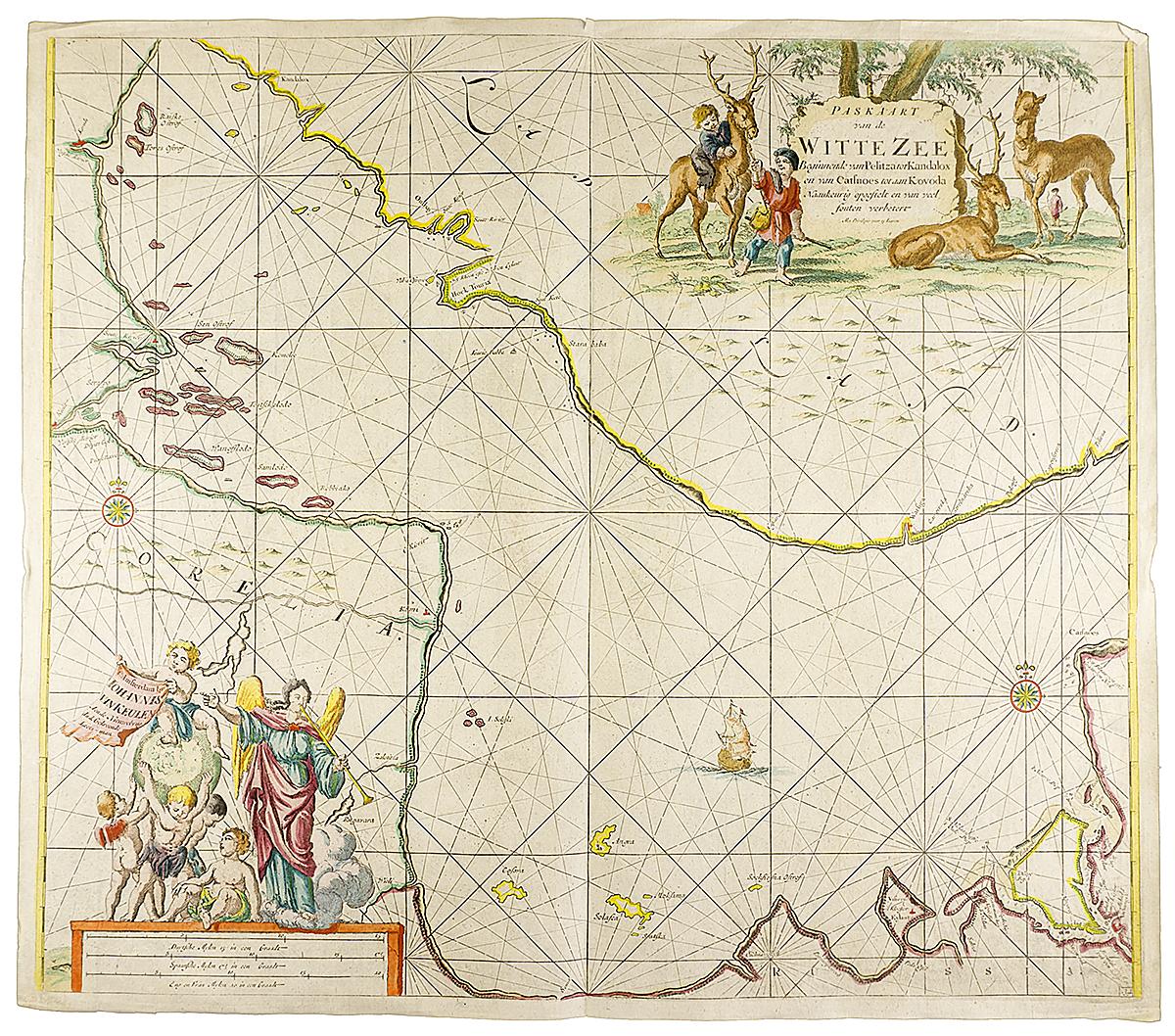 Географическая карта Белого моря (от Кандалакши и на восток). Гравюра, Западная Европа, не позднее 1620 года