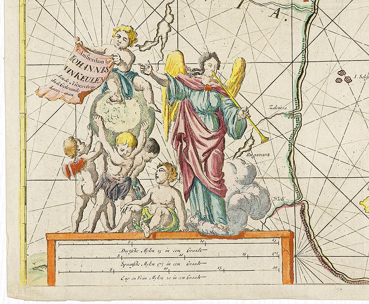 Географическая карта Белого моря (от Кандалакши и на восток).  Гравюра, Западная Европа, не позднее 1620 года Размер - 61 х 53 см. Сохранность хорошая. Карта Белого моря...