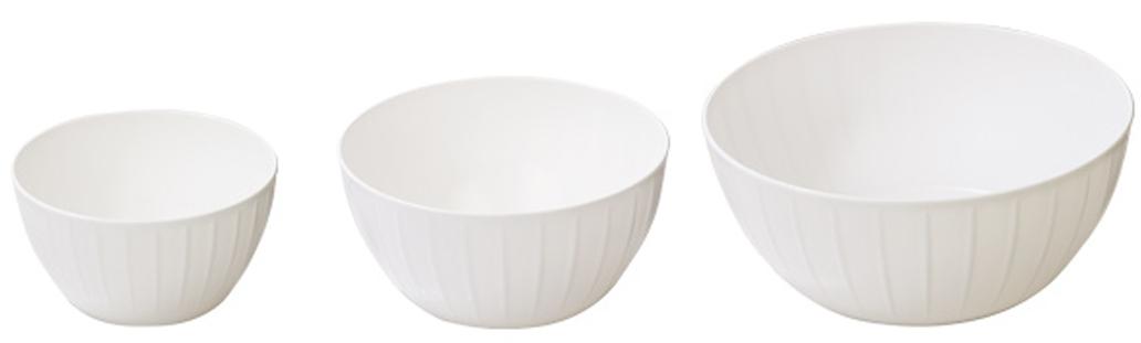 Набор мисок Tescoma Delicia, цвет: белый, 3 шт630364.11С линией Tescoma Delicia вам не нужно тратить время на поиск подходящих друг другу товаров - все продукты выполнены в одном стиле.Поэтому, вам не обойтись без миски для смешивания продуктов - одного из самых необходимых и функциональных видов посуды.В ней можно перемешивать и взбивать, а устойчивое дно не будет скользить по поверхности стола. Сделано из высококачественного прочного пластика, подходит для микроволновой печи и посудомоечной машиной. Гарантия 3 года.