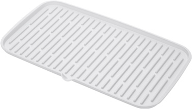 Сушилка для посуды Tescoma Clean. Kit, силиконовая, цвет: белый, 42 x 24 см900646.11Прекрасно подходит для хранения умытой посуды, с профилированным дном для быстрой сушки и носиком для удобного выливания воды. Изготовлено из высококачественного термостойкого силикона, подходит в качестве подставки для горячей посуды. Легко складывается, подходит для мытья в посудомоечной машине. Гарантия 3 года.