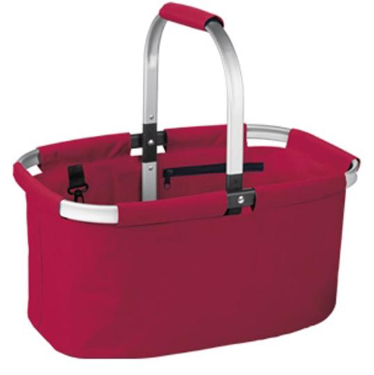 Корзина для покупок складная Tescoma Shop!, цвет: красный906160.20Складная корзина для покупок объемом 23 л, грузоподъемностью 20 кг из высококачественного синтетического материала с прочным алюминиевым каркасом. С удобным карманом на молнии и карабином, легко складывается и раскладывается, разложенная корзина идеально держит форму. Отлично подходит для покупок, пикников, на пляж и так далее. Протирайте влажной тряпкой, дайте хорошо высохнуть, не мойте в посудомоечной машине, не стирайте. Гарантия 3 года.