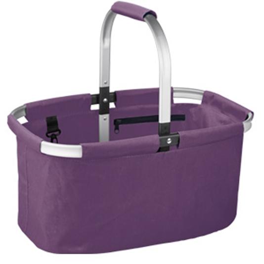 Корзина для покупок складная Tescoma Shop!, цвет: фиолетовый906160.23Складная корзина для покупок объемом 23 л, грузоподъемностью 20 кг из высококачественного синтетического материала с прочным алюминиевым каркасом.С удобным карманом на молнии и карабином, легко складывается и раскладывается, разложенная корзина идеально держит форму.Отлично подходит для покупок, пикников, на пляж и так далее.Протирайте влажной тряпкой, дайте хорошо высохнуть, не мойте в посудомоечной машине, не стирайте.Гарантия 3 года.