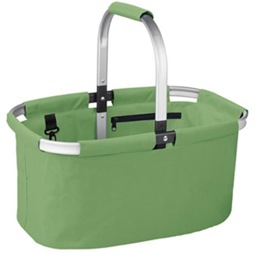Корзина для покупок складная Tescoma Shop!, цвет: зеленый906160.25Складная корзина для покупок объемом 23 л, грузоподъемностью 20 кг из высококачественного синтетического материала с прочным алюминиевым каркасом. С удобным карманом на молнии и карабином, легко складывается и раскладывается, разложенная корзина идеально держит форму. Отлично подходит для покупок, пикников, на пляж и так далее. Протирайте влажной тряпкой, дайте хорошо высохнуть, не мойте в посудомоечной машине, не стирайте. Гарантия 3 года.