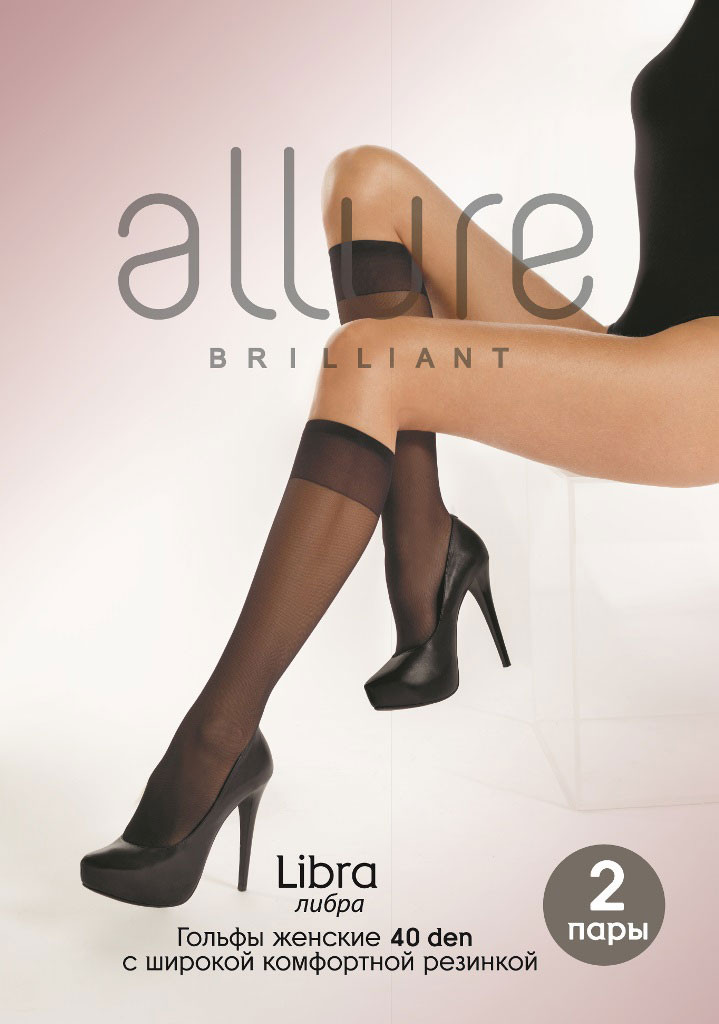 Гольфы Allure Libra 40, цвет: Nero (черный), 2 пары. Размер универсальный гольфы женские intimidea essential 40 цвет nero черный 2 пары размер универсальный