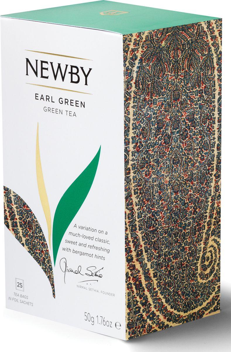 Newby Earl Green зеленый чай с бергамотом в пакетиках, 25 шт5023984005088Эксклюзивный купаж зеленого чая, ароматизированный натуральным маслом бергамота. Эрл Грин – это отличный пример того, как деликатный вкус зеленого чая может заиграть новыми оттенками в сочетании с натуральным вкусом спелого бергамота.Вкусовые характеристикиЦвет: нефритовый оттенокАромат: цитрусовыйВкус: деликатный вкус зеленого чая с яркими нотами бергамотаПослевкусие: освежающее, сладкое