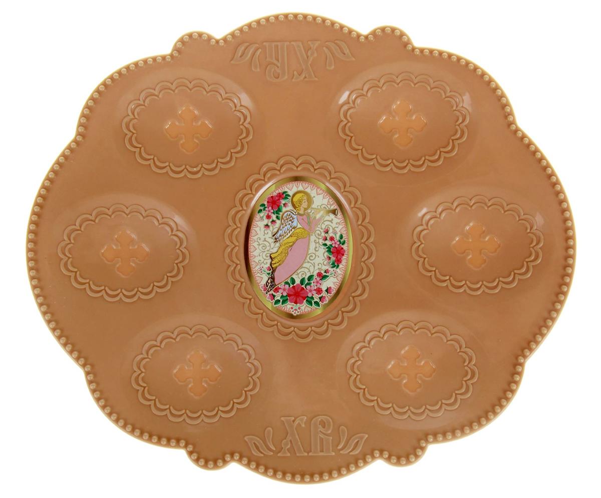 Подставка пасхальная Ангел, для 6 яиц, 21 х 18 см. 10025991002599Пасхальная подставка для 6 яиц изготовлена из качественного пластика, в центре имеется яркая вставка.Аксессуар станет достойным украшением праздничного стола, создаст радостное настроение и наполнит пространство вашего дома благостной энергией на весь год вперёд. Подставка будет ценным памятным подарком для родных, друзей и коллег. Радости, добра и света вам и вашим близким!