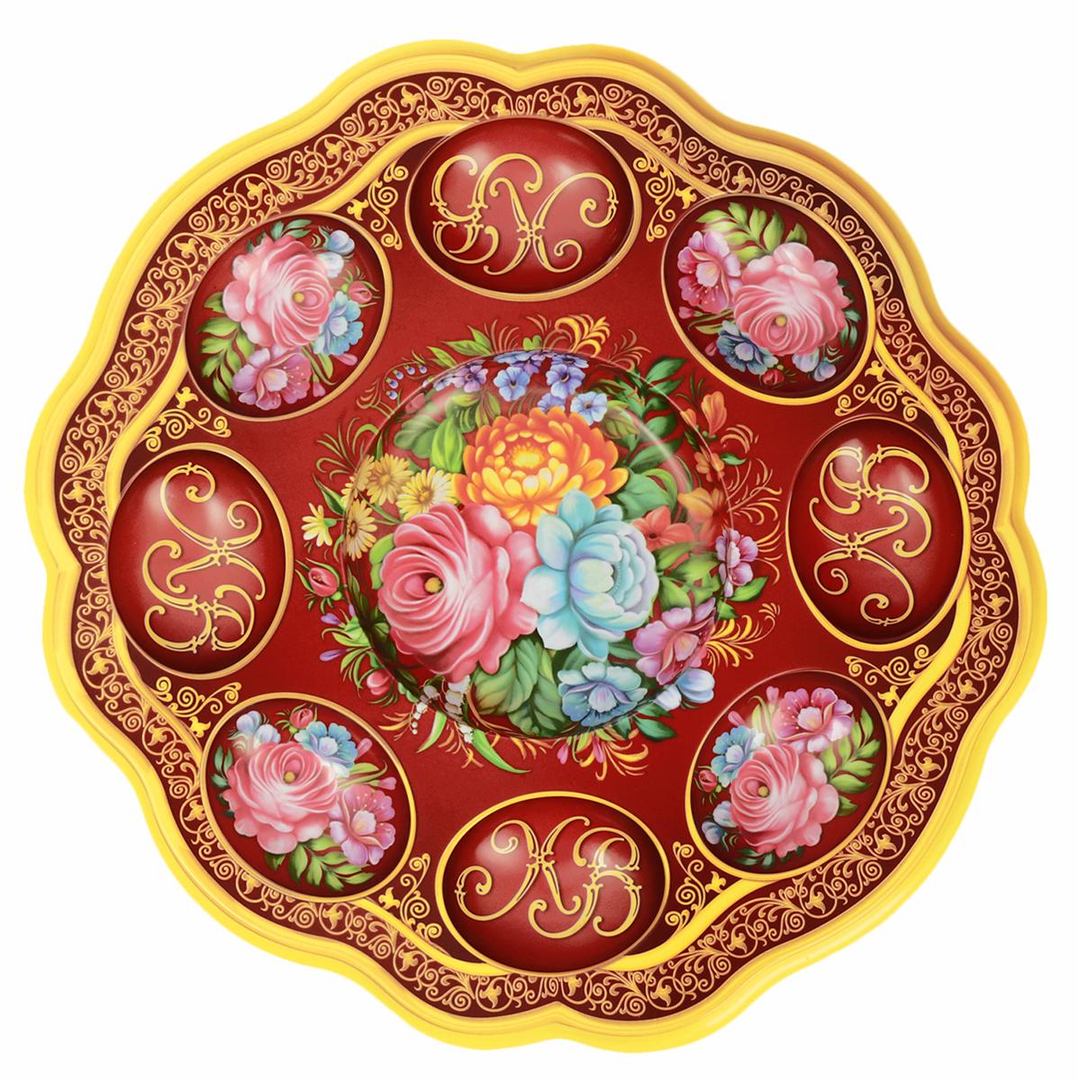 Подставка для яйца Жостово, цвет: красный, на 8 яиц и кулич, 24 х 25 см. 16538871653887Подставка изготовлена из пластика и имеет полноцветное яркое изображение. Аксессуар станет достойным украшением праздничного стола, создаст радостное настроение и наполнит пространство дома благостной энергией на год вперёд.Изделие также будет хорошим подарком друзьям и коллегам.