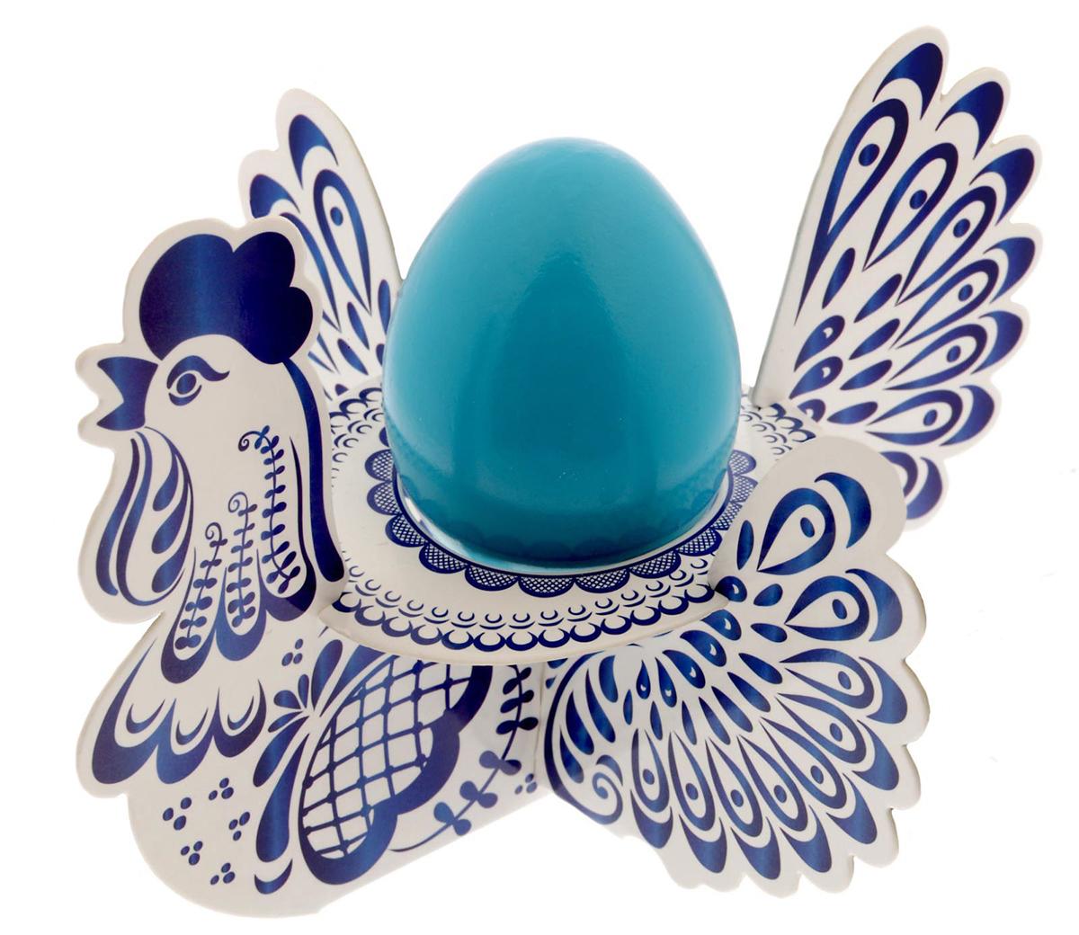 """Подставка для яйца """"Гжель. Петух"""", цвет: синий, на 1 яйцо, 15,7 х 21,2 см. 1695094"""