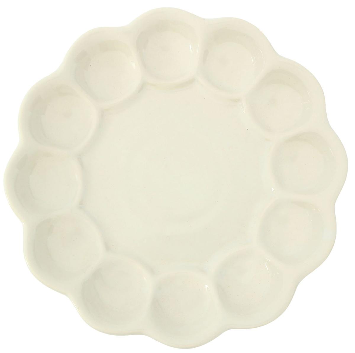 Подставка для яйца Керамика ручной работы Пасхальная, цвет: бежевый, белый, диаметр 22 см. 21492162149216Данная тарелка понравится любителям вкусной и полезной домашней пищи. Такая посуда практична и красива, в ней можно хранить и подавать разнообразные блюда. При многократном использовании изделие сохранит свой вид и выдержит мытьё в посудомоечной машине.В керамической ёмкости горячая пища долго сохраняет своё тепло, остуженные блюда остаются прохладными.Изделие не выделяет вредных веществ при нагревании и длительном хранении за счёт экологичности материала.