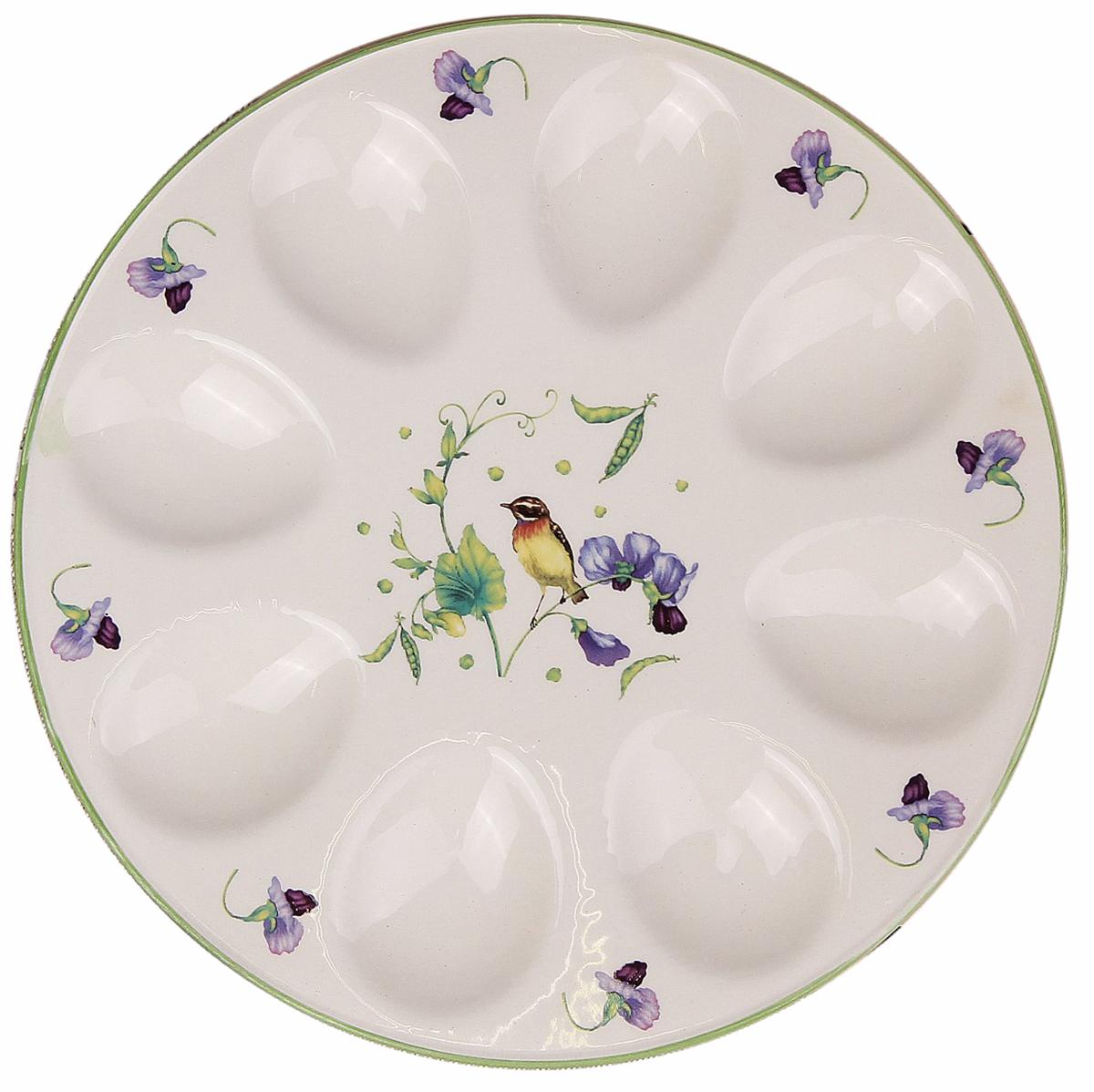 Подставка для яйца Доляна Зеленый сад, цвет: белый, 20 х 2 см. 2532204
