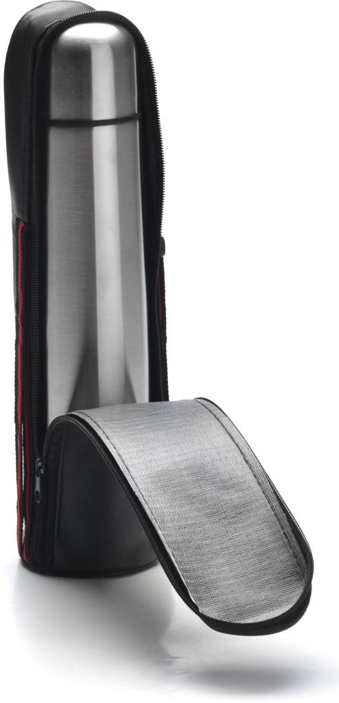 """Термос с чехлом """"Mayer & Boch"""" выполнен из качественной нержавеющей стали, которая не вступает в реакцию с содержимым термоса и не изменяет вкусовых качеств напитка. Двойная стенка из нержавеющей стали сохраняет температуру на срок до 6 часов. Вакуумный закручивающийся клапан предохраняет от проливаний. Цветное покрытие обеспечивает защиту от истирания корпуса. Данная модель термоса прочная, долговечная и в тоже время легкая. Стильный металлический термос понравится абсолютно всем и впишется в любой интерьер кухни. Легко и просто моется."""