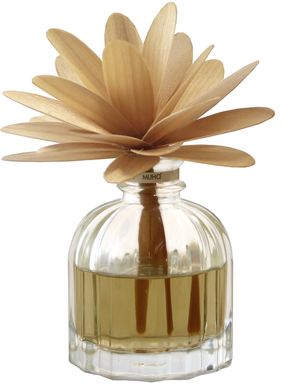 Диффузор ароматический Muha Амбра и ваниль, с цветком и наполнителем, 60 мл7DDGIАроматический диффузор с цветком Амбра и Ваниль - видение солнечной полуденной веранды итальянского домика с роскошью цветочных и древесных нот в букете с благородной ванилью.