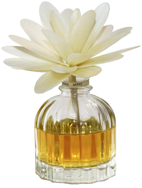 Диффузор ароматический Muha Цветочный шипр, с цветком и наполнителем, 60 мл704-HPS-05Ароматический диффузор с цветком Цветочный шипр - Разнообразные цветочные оттенки в гармонии со смесью бергамота, сандала, пачули и уникального белого мха. Древесно-мшистые ноты оттеняют и придают аристократизм всему букету.