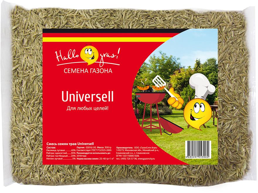 """Газон """"Universell Gras"""" - универсальная травосмесь для быстрого создания газона на различных территориях. Хорошо произрастает на открытых солнечных и затененных участках.: Состав смеси трав: Райграс пастбищный: 20%. Овсяница луговая: 40%.  Райграс однолетний: 35%.  Мятлик луговой: 5%."""