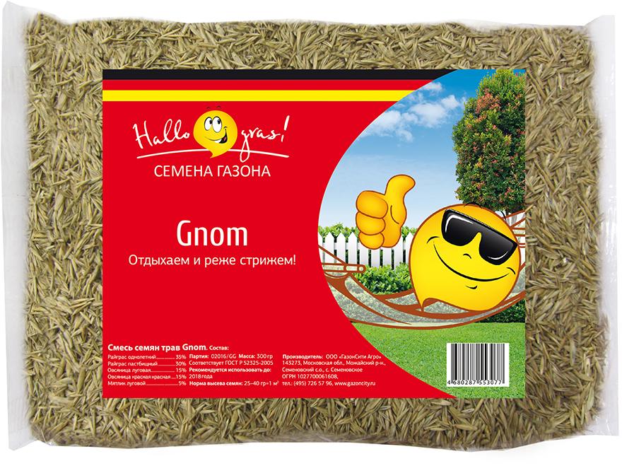 """Газон """"Gnom Gras"""" - травосмесь для создания относительно медленно растущего газона, что позволяет сократить частоту стрижек. Состав смеси трав: Овсяница красная красная: 15 %.  Райграс однолетний: 35 %.  Мятлик луговой: 5 %.  Овсяница луговая: 15 %.  Райграс пастбищный: 30 %."""