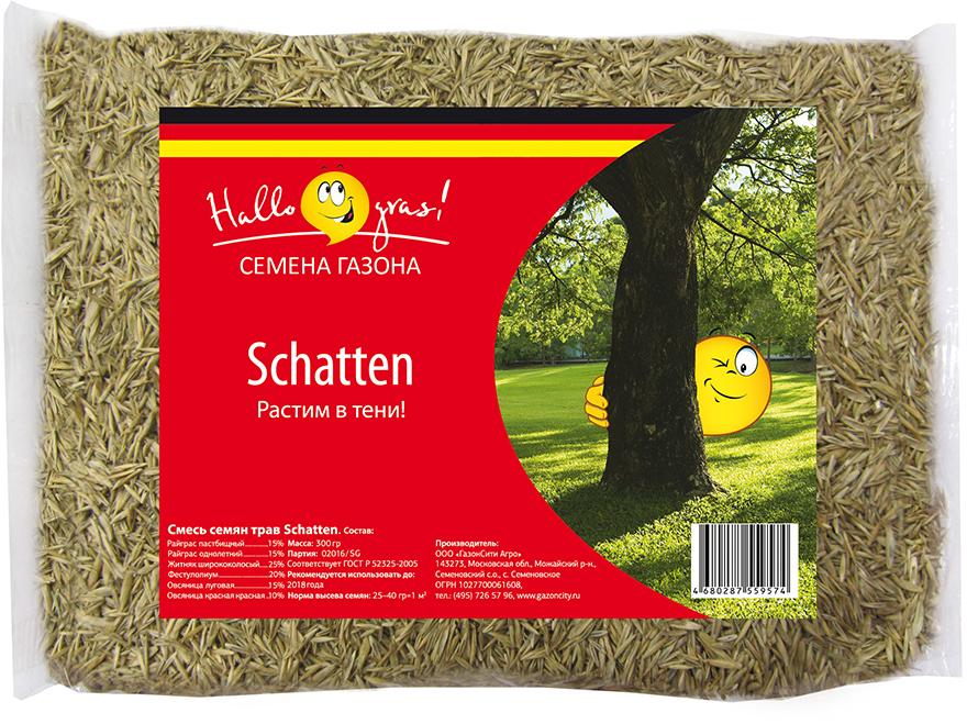 """Газон """"Schatten Gras"""" - травосмесь для создания полноценно растущего газона на затененных участках.  Состав смеси трав:  Овсяница луговая: 15%.  Овсяница красная красная: 10%.  Житняк ширококолосый: 25%.  Фестулолиум: 20%.  Райграс пастбищный: 15%.  Райграс однолетний: 15%."""