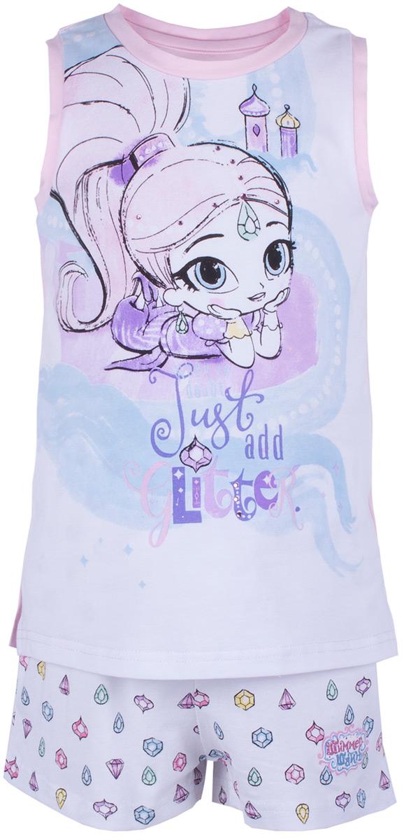 Пижама для девочки Button Blue, цвет: розовый. 118BBGL97021200. Размер 140118BBGL97021200Одежда для сна должна быть максимально комфортной и удобной, но и значение дизайна нельзя недооценивать! Чтобы девочке было не только уютно, но и приятно ложиться спать, ей можно недорого купить детскую пижаму с изображениями популярных персонажей. Модель украшают акварельные рисунки Шиммер и Шайн - близняшек-джиннов из одноименного мультсериала. Пижама спокойного цвета с милым принтом отличается высоким качеством и изготовлена из хлопка с эластаном. Комплект состоит из шортиков и майки без рукавов.